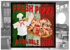 Fresh Pizza Cafe Sign Wall Plaque