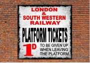 Railway Platform Tickets Sign