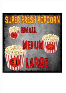 popcorn cinema menu sign