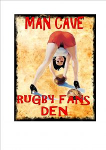 Rugby Man Cave Novelty Sign Wall Plaque