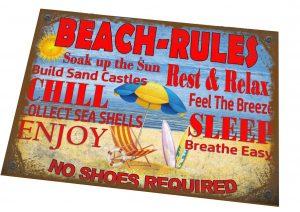 Seaside Beach Rules Novelty Sign
