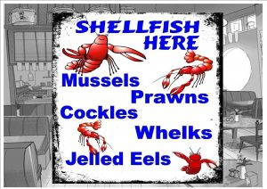 Fresh Shell Fish Cafe Sign Wall Plaque