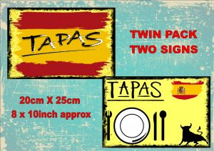 Vintage Tapas bar Signs