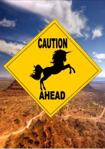 Caution Unicorn Ahead sign