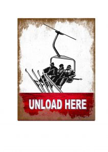Skiing unload here Sign